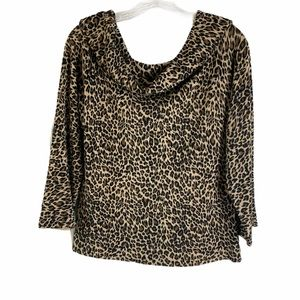 HAROLD'S Animal Print Cowl Neck Top